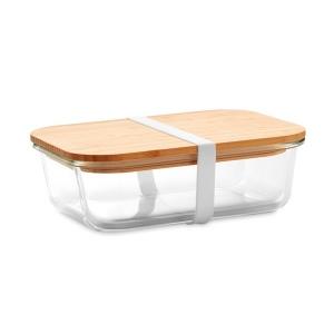 Produit personnalisé Lunchbox en verre avec couvercle en bambou promotionnelle Lunchbox bio