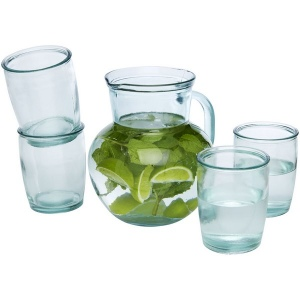 Produit personnalisé Kit Carafe et verres en verre recylcé Eco-responsable